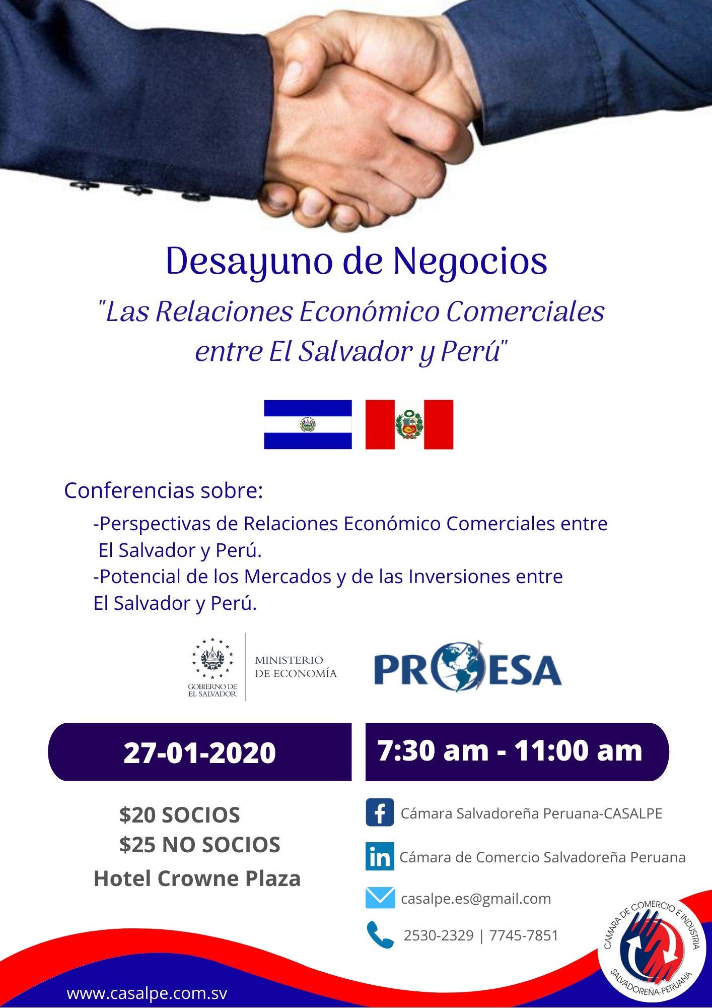 """Desayuno """"Relaciones Económico Comerciales entre El Salvador y Perú"""""""